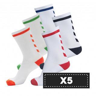 Lot de 5 paires de chaussettes claires Hummel Elite Indoor Low (coloris au choix)