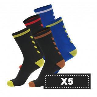 Lot de 5 paires de chaussettes foncées Hummel Elite Indoor Low (coloris au choix)