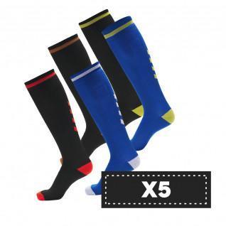 Lot de 5 paires de chaussettes foncées Hummel Elite Indoor high (coloris au choix)
